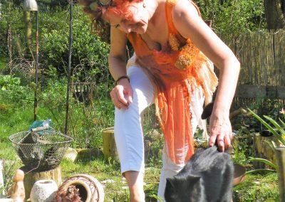 Feenhemd - gefilzte und Seidenteile in Kombination, handgefärbt in rostorange