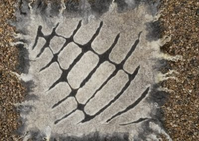 Relieftechnik; Bergschafwolle in weiß und braun, Gotlandlocken